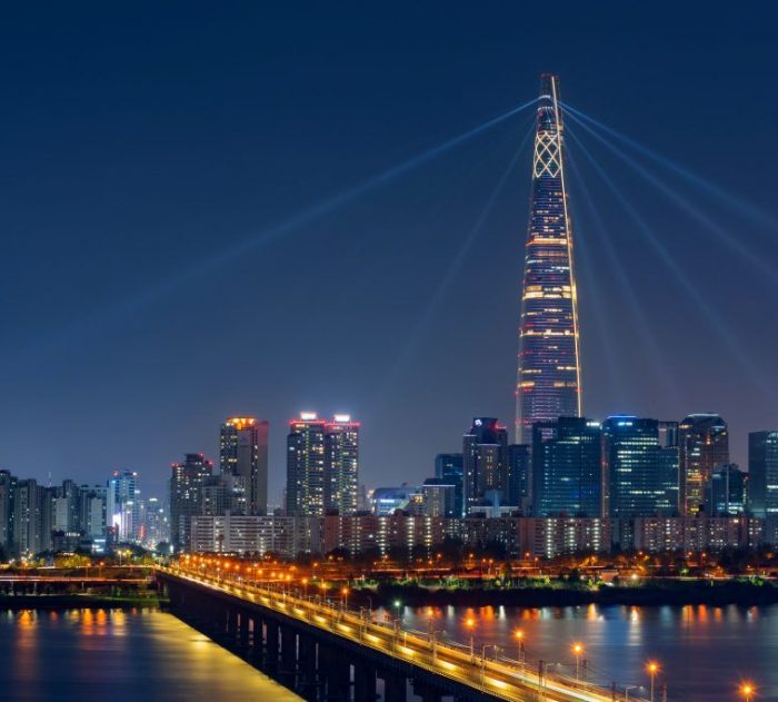 Beautiful Cityscape at Lotte World Tower in Seoul City,South Kor