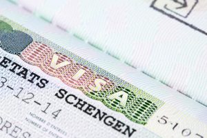 Close up of schengen visa