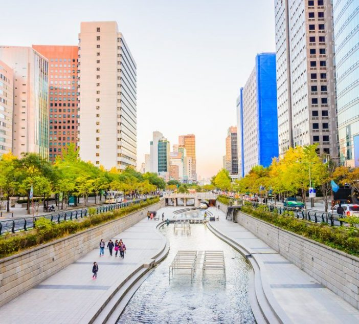 Cheonggyecheon Stream in Seoul City
