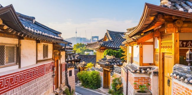 Sunrise of Bukchon Hanok Village in Seoul, South Korea